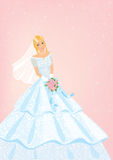Bride with roses bouquet. Illustration vector illustration