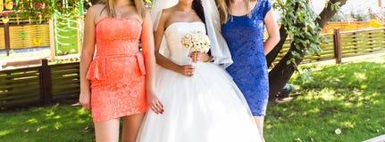 Bride, row of bridesmaids with bouquets at big wedding ceremony. Stock Photos