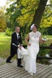 Bride running away Royalty Free Stock Photo