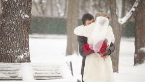Bride runs to the groom stock video footage