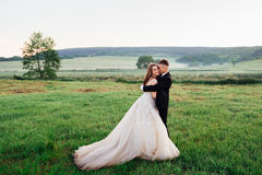 Bride& x27; s壮观的礼服在绿色领域说谎 库存图片
