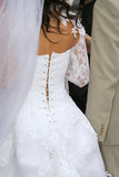Bride's back. Bride in white wedding dress, bride's back Stock Photo