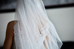 Bride`s beautiful back in wedding dress. Bride`s beautiful back in fantastic white wedding dress standing indoor with natural light Stock Photos