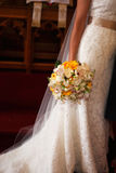 Bride's bouquet. Detail shot of a bride's floral bouquet on her wedding day Royalty Free Stock Images