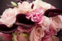 Bride's bouquet. A rose and callas bride's bouquet Stock Images