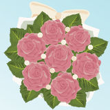 Bride's Bouquet. Of Pink Roses Vector Illustration