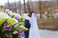 The brides bouquet. Bridal bouquet in the foreground Stock Photo