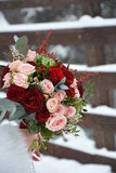 The bride's bouquet with different roses Stock Images