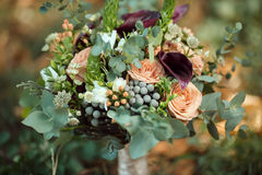 Bride's Bouquet on Green Grass Royalty Free Stock Image