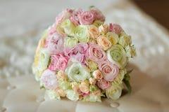 Bride's Bouquet on Sofa Stock Image
