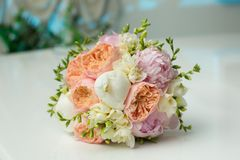 Bride's Bouquet on Table Royalty Free Stock Photo