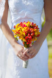 The bride's bouquet to the wedding. Autumn bridal bouquet at a wedding Royalty Free Stock Photos