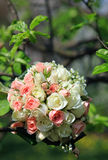Bride's bouquet with wedding rings Stock Photo