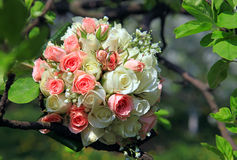 Bride's bouquet with wedding rings Royalty Free Stock Photo