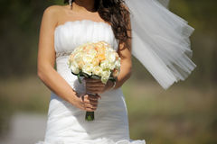 Bride's Bouquet of White Roses Royalty Free Stock Photos