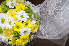 Bride's bouquet in yellow and white colors. Tender Bride's bouquet in yellow and white colors royalty free stock photography