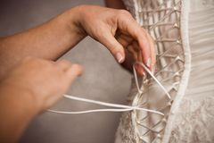 Bride's corset. Four hands tying bride's corset Stock Image
