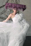 Bride`s dress fluttering in the wind Royalty Free Stock Photography