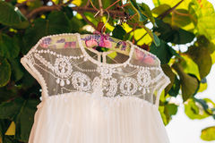 The bride`s dress on a hanger in the green Royalty Free Stock Photography