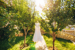 The bride`s dress on a hanger in the green Royalty Free Stock Photo