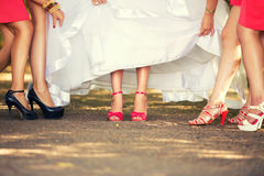 Bride's feet in red shoes and her girlfriends Royalty Free Stock Photo