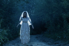 Bride`s ghost in  night forest Stock Image