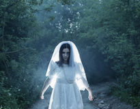 Bride`s ghost in  night forest Stock Photography