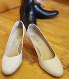 Bride's and groom's shoes Royalty Free Stock Photography