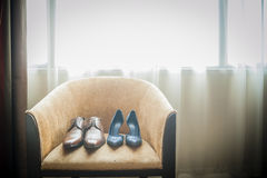 Bride's and Groom's Shoes Stock Photo
