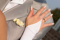 A bride's hand Stock Photography