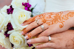 Bride's Hand With Henna Tattoo And Jewellery, Wedding Stock Image