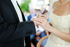 Bride and groom hands with ring wedding Royalty Free Stock Image