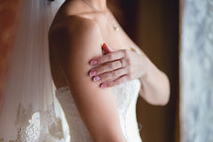 Bride's hand on shoulder Stock Images