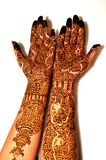 Bride's hands with henna. Henna on hands looking beautiful.heena is a traditional ritual also known as mehndi.It is applied on all the auspicious ceremonies and royalty free stock photos