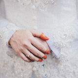 Bride's Henna Hand and Ring Stock Images