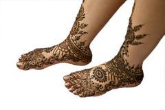 Bride's legs with mehndi-1 Stock Photos