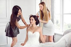 Bride`s make-up hairstyle preparation stock image