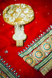 Bride's Saree and accesories Stock Images