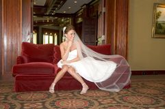 Bride's Smiling in her Wedding Dress Royalty Free Stock Photos