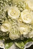 Bride's wedding bouquet. White roses and pearls Royalty Free Stock Image