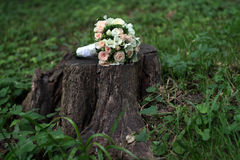 Bride's Wedding Bouquet on the stump in a forest Stock Image