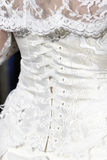 Bride's wedding dress detail Stock Photo