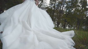 Bride's Wedding Dress on Grass. A dusk shot of a bride in wedding dress runing in grass field stock footage