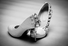 Bride's Wedding Shoes Stock Photos