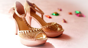 The bride's wedding shoes royalty free stock images