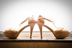 The bride's wedding shoes Stock Images