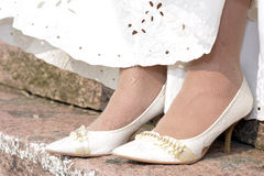 The bride's wedding shoes Stock Photo