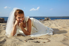Bride on sand Royalty Free Stock Photo