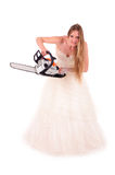 Bride with saw Stock Photos