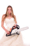 Bride with saw Royalty Free Stock Images